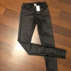 New with tags faux black leather leggings